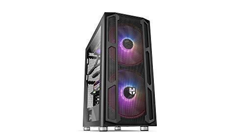 Nox Hummer Nova -NXHUMMERNOVA- Semitorre ARGB ATX-Micro ATX-ITX, 2 ventiladores ARGB 200mm preinstalados, cristal templado, espacio para hasta 8 ventiladores, USB 3.0, color negro