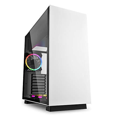 Sharkoon Pure Steel RGB- Caja de Ordenador, PC Gaming, Semitorre ATX, Blanco