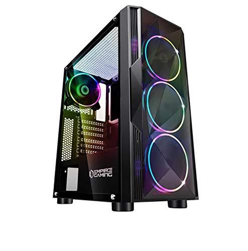 EMPIRE GAMING – Caja PC Gamer Diamond ARGB Torre Mediana ATX – Frontal Diamante Plexiglás y Pared Lateral de Vidrio Templado – 4 Ventiladores LED RGB direccionables 120 mm