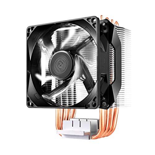 Cooler Master Hyper H411R Dissipatore CPU -Sistema Basso Profilo, Tecn. Contatto Diretto, 4 Tubi Calore in Rame, Dissipatore Compatto in Alluminio, Ventola PWM LED Bianco da 92mm-AMD e Intel Compatib.