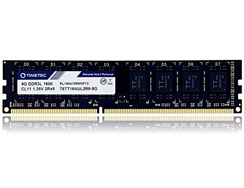 Timetec Hynix IC DDR3L 1600MHz PC3-12800 Unbuffered Non-ECC 1.35V CL11 2Rx8 Dual Rank 240 Pin UDIMM Pc sobremesa Memoria Principal Module Upgrade (8GB)
