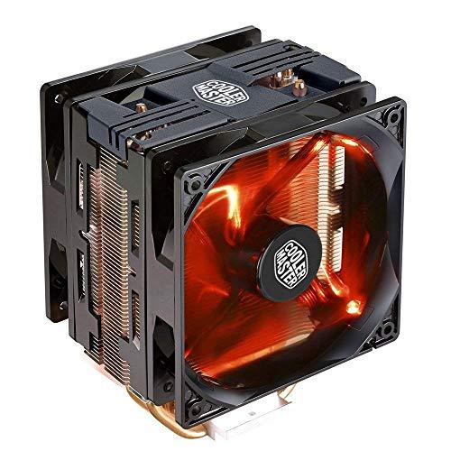 Cooler Master - Hiperventilador para CPU, Compacto, con Dos Tubos en Forma de Anillo con Contacto Directo para refrigeración. Hyper 212 LED Turbo Black Top 4 Heat Pipes