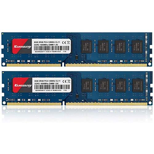 Kuesuny 16 GB (2 x 8 GB) DDR3 1600 MHz Udimm Ram PC3-12800 PC3-12800U 1,5 V CL11 240 pines 2RX8 Dual Rank Non-ECC memoria de computadora de escritorio sin búfer módulo de actualización