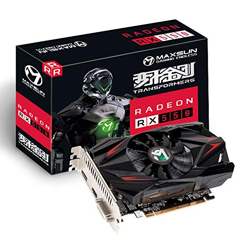 MAXSUN AMD Radeon RX 550 4GB GDDR5 ITX - Tarjeta gráfica para videojuegos (128 bits, DirectX 12, PCI Express 3.0, DVI-D, Dual Link, HDMI, DisplayPort