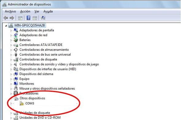 administrador de dispositivos conflicto com3