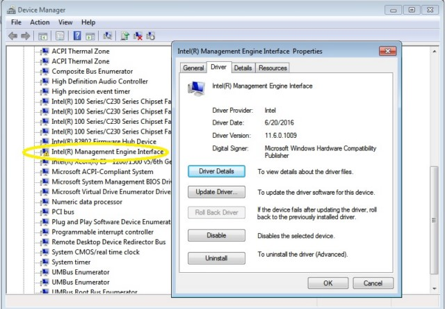 Conflicto drivers Intel Management Engine Interface
