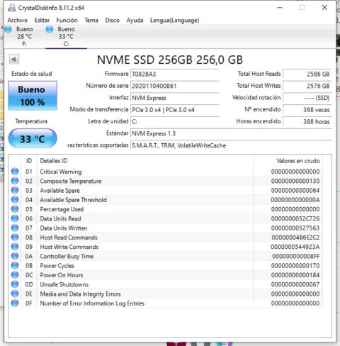 crystal disk info disco nvme pci express 256GB