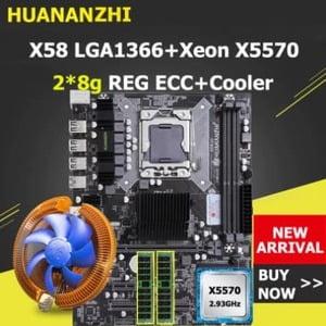 combo huananzhi xeon x58 lga1366 x5670 16gb (2x8) con ventilador cpu