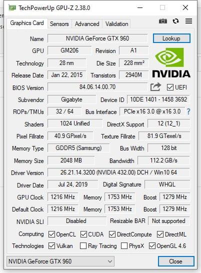 info gráficas con GPU-Z
