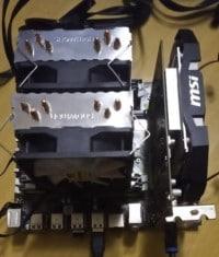 placa base miniatx con ventilador y grafica