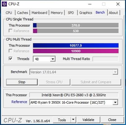 CPU Z XEON 2680V3 DUAL VS RYZEN 9 3950X