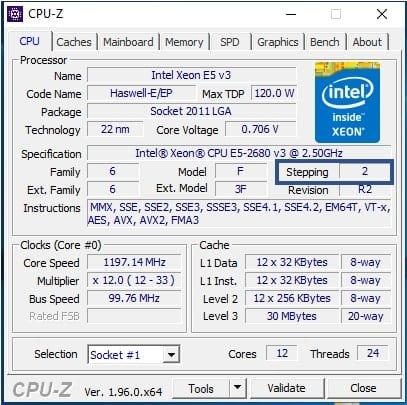 CPU-Z intel xeon e5 v3 Haswell e_ep