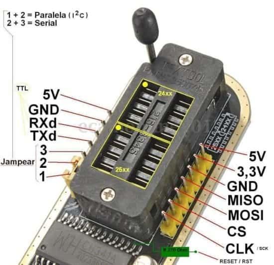 Programador CH341a para bios placas base x99