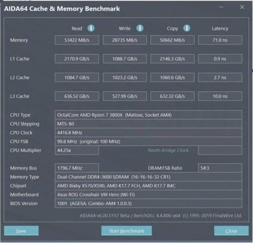 aida64 test memoria cache ryzen 7 3800x ddr4 3600