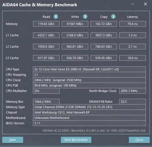 aida64 test memoria cache xeon x99 2680v3 dual ddr4 2133 octa channel
