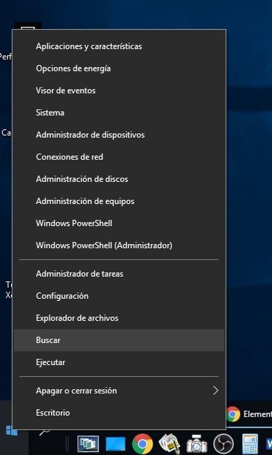 menu inicio windows buscar