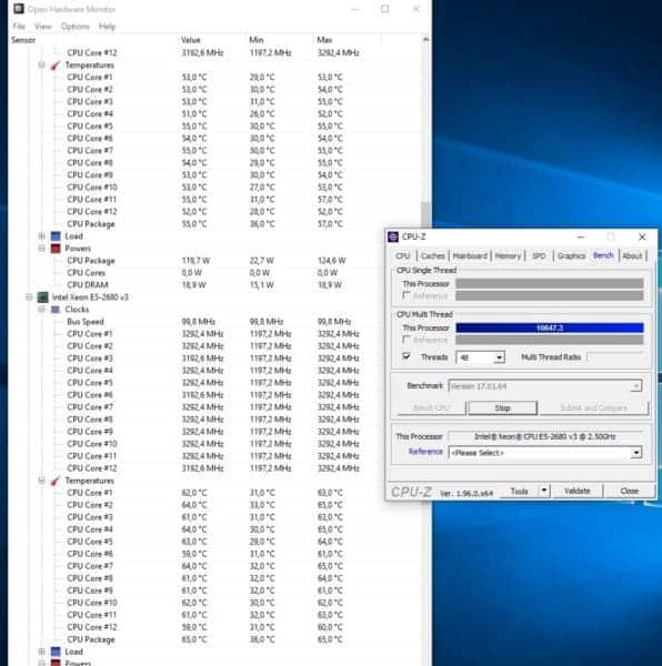 temperaturas open harware monitor xeon dual 2680v3 con turbo boost y undervolt -70 -50