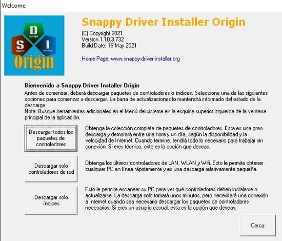 sdio paso 1 pantalla de seleccion de descarga de drivers