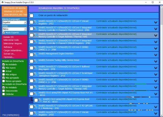 sdio paso 3 pantalla experto listado de drivers xeon