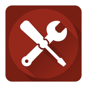 icono rojo destornillador y llave inglesa cruzada