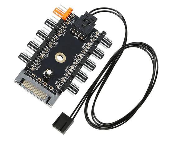 controladora hub digital con conectores 4 pines PWM para ventiladores pc