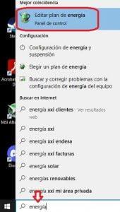 paso 1 buscador windows editar plan energia
