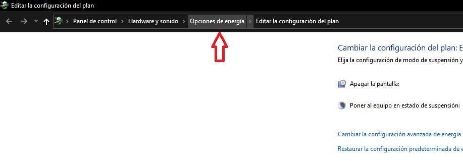 paso 2 opciones de eneriga windows 10