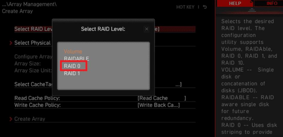 select raid level msi-amd