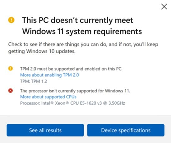 image28 windows 11 not supporting procesadores xeon